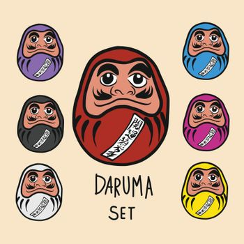 Daruma lucky charm set with Japanese word mean happiness and successful cartoon illustration