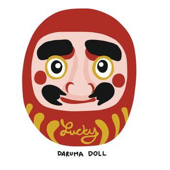 Daruma Japanese lucky charm cartoon vector illustration