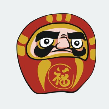 Daruma Japanese lucky charm with Japanese language mean lucky cartoon vector illustration