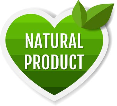 Natural Product Green Labels With Leaves White Background With Gradient Mesh, Vector Illustration