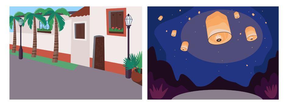 Recreational event flat color vector illustration set