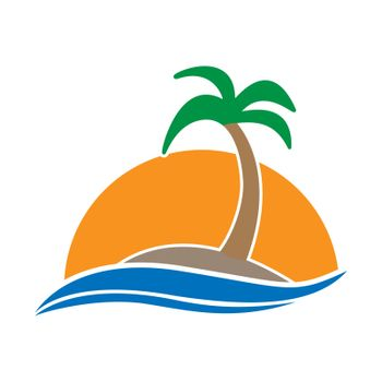 Simple color icon. An island with a palm tree in the sea against the background of sunset or sunrise. Simple flat design for websites and apps