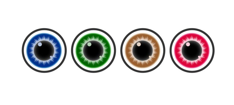 Eye, a set of color vector icons.. Stock vector illustration. Simple design for sticker, sticker, logos, website or app