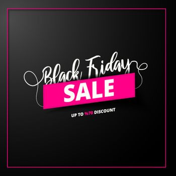 Typography of Black Friday with 70% discount offer on black background for Sale poster or template design.