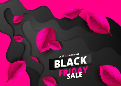 Black Friday. Sale and discounts flat trendy banners.  Black friday calligraphy in paper cut art with  pink leaves in the background. Vector illustration.