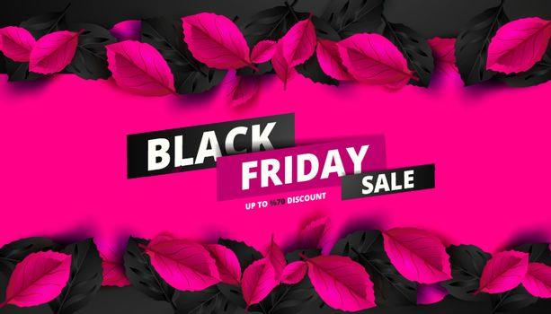 Black Friday. Sale and discounts flat trendy banners.  Black friday calligraphy in square with black and pink leaves in the background. Vector illustration.