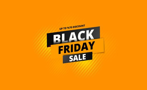 Upto 70% discount offer for Black Friday Sale text on halftone effect background. Can be used as poster or template design.