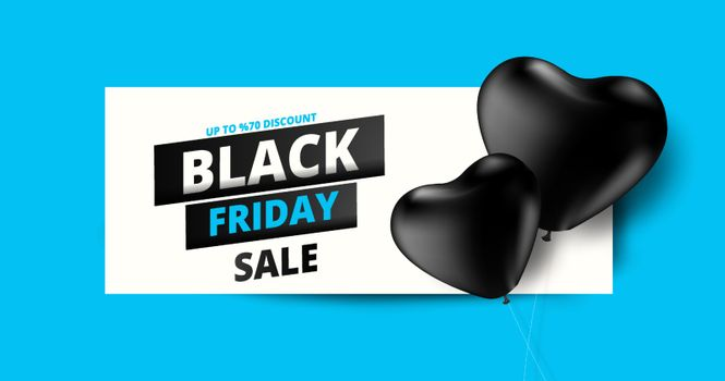 Upto 70% discount offer for Black Friday Sale text on black heart ballons blue background. Can be used as poster or template design.