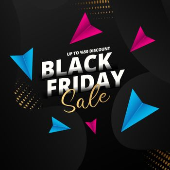 Upto 50% discount offer for Black Friday Sale text on golden halftone effect black background. Can be used as poster or template design.