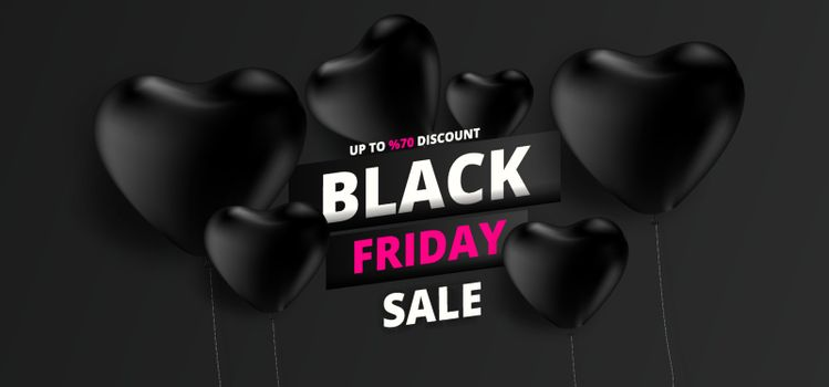 Upto 70% discount offer for Black Friday Sale text on black heart ballons background. Can be used as poster or template design.