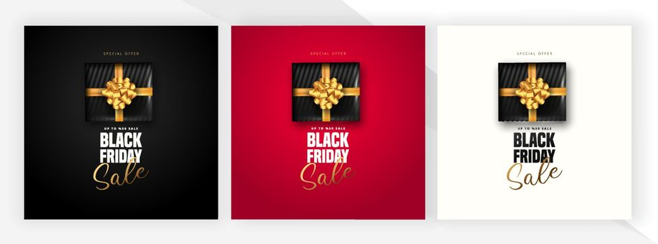 50% discount offer for Black friday sale lettering, Black gift box around on 3 different color background. Can be used as poster,banner or template design.