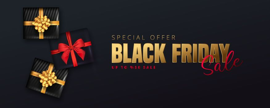 50% discount offer for Black friday sale lettering, Black gift boxes around on black background. Can be used as poster,banner or template design.