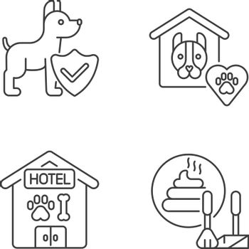 Animal welfare linear icons set