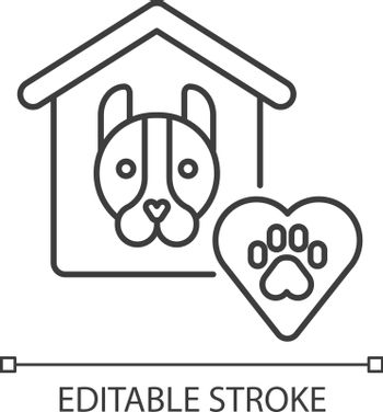 Animal shelter linear icon