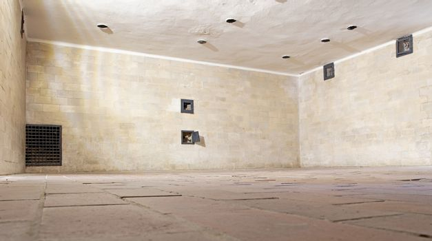 Dachau, Germany - july 13, 2020: The inside of a gas chamber at