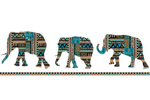 Ethnic motifs pattern set of ornate elephants