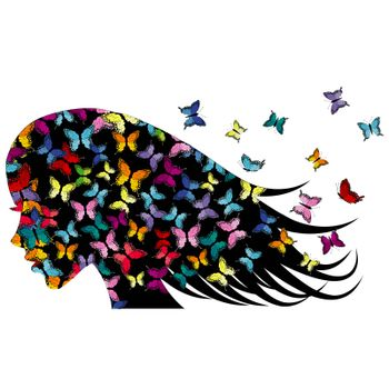 Profile of a girl with colored butterflies