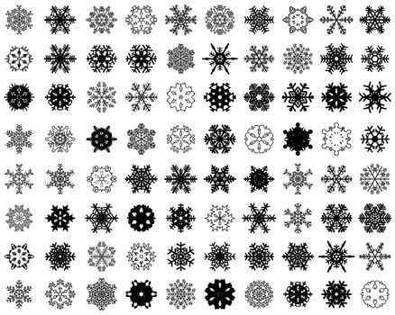 Black silhouettes of snowflakes on a white background