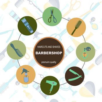 Barber Shop Vector Silhouettes and Icons Set for Vintage hairdresser salon. Round frame composition of Hair salon objects, symbols and items on seamless pattern.