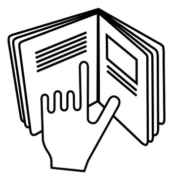 Refer to insert symbol used on cosmetics products. Sign displaying hand pointing to text in open book meaning read instructions.