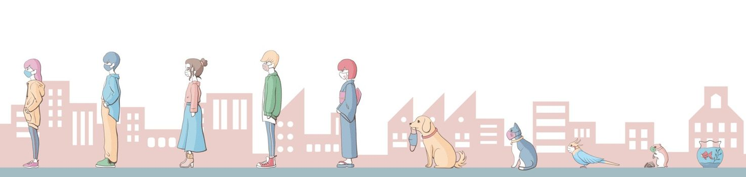 Keep Social distance with pets.Social distancing.Flat illustration.