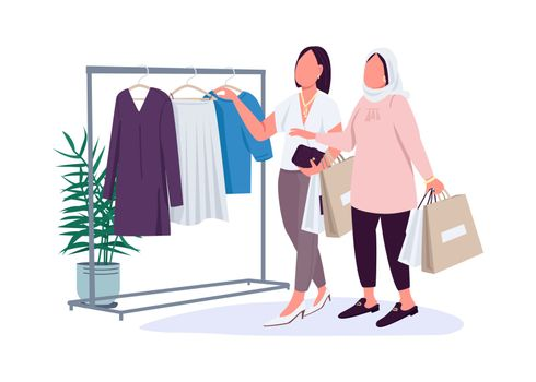 Girlfriends shopping flat color vector faceless characters. Shopaholic girls. Stress reliever hobby. Clothes emporium isolated cartoon illustration for web graphic design and animation
