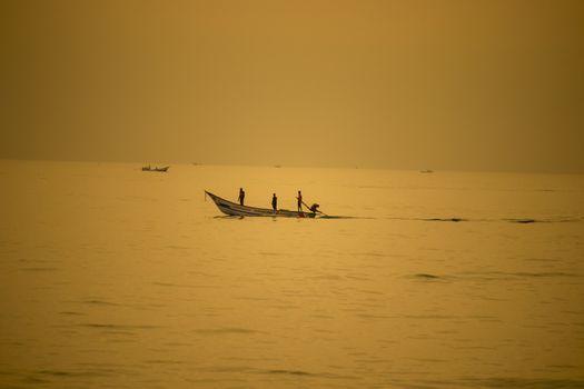 Chennai , Tamilnadu - India . September 2, 2020 .Sea view and Hustle and bustle at sunrise