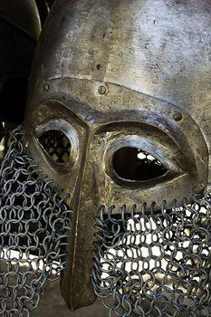 Vintage metal medieval knight helmet piece of armor