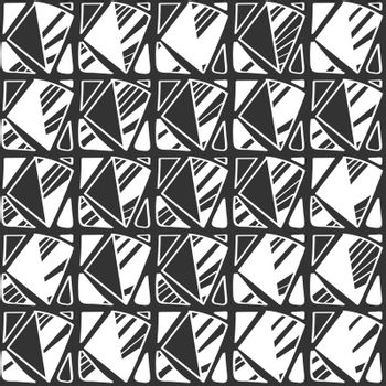 Abstract seamless black and white pattern of arbitrary shapes for backgrounds and decorations