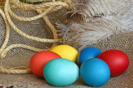 Multi-coloured Easter eggs on desktop