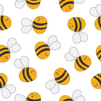 Seamless bee pattern for textiles, packaging and simple backgrou