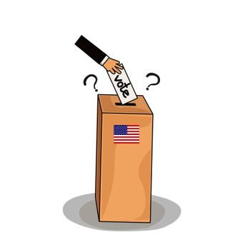 Hand putting voting ballot into vote box. Man s candidate profile. The US presidential election 2020. American flag colors. Vector illustration
