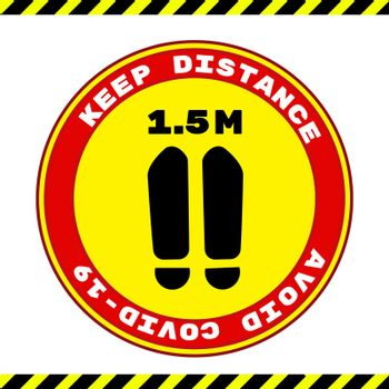 Social Distancing Keep Your Distance 1,5 m or 1,5 Metres Infographic Icon. Vector Image