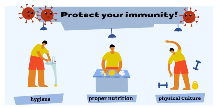 Healthy nutrition, hygiene, sports are the best defenders of immunity. Health support concept