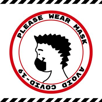 please wear a face mask instruction icon. vector illustration.