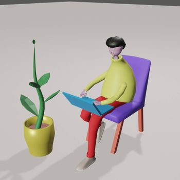 A cute man in plasticine style sits at a laptop on an armchair. 3d render illustration