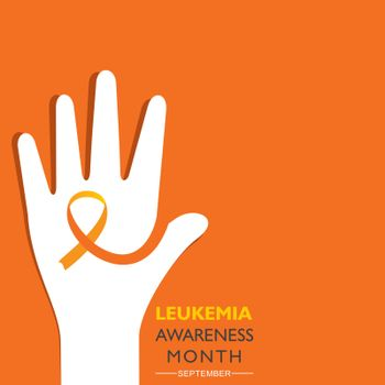 Vector Illustration of Leukemia Awareness month with orange colored ribbon, observed in September