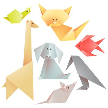 Set of origami animals - figures folded from colored paper. Vector illustrations on a white background