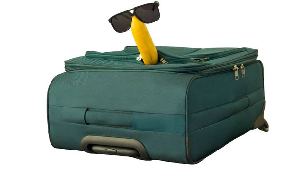 Banana in sunglasses sits on a suitcase isolated on white,close-up.