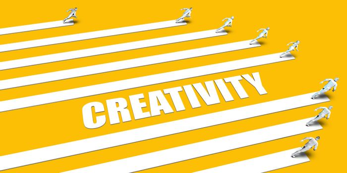 Creativity Concept with Business People Running on Yellow