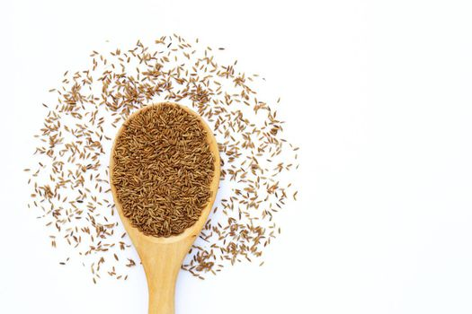 Cumin or caraway seeds on white background.
