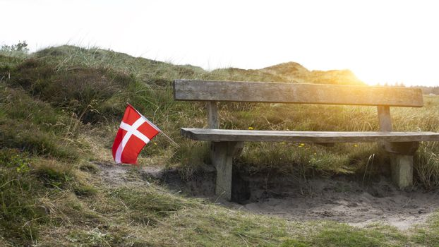 A bench to rest in the national park in Denmark