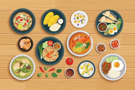 Thai food and ingredient on a wooden background.