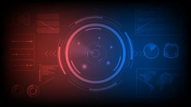 Futuristic radar screen monitor, searching target