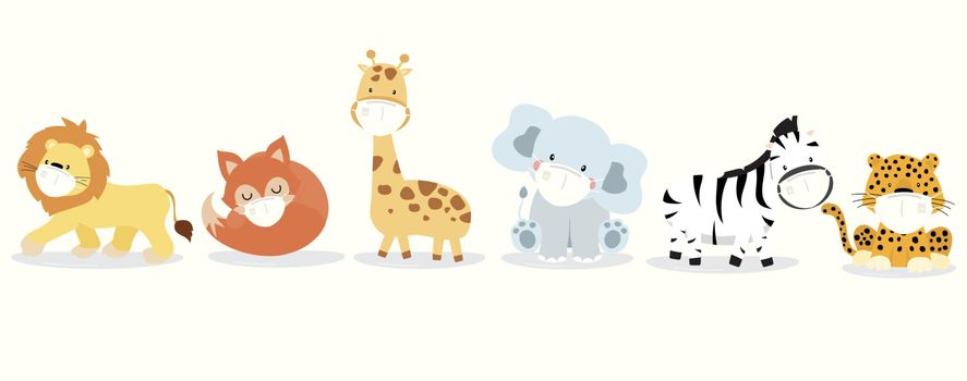 Cute animal object collection with  lion,giraffe,fox,zebra,elephant,leopard wear mask.Vector illustration for prevention the spread of bacteria,coronviruses