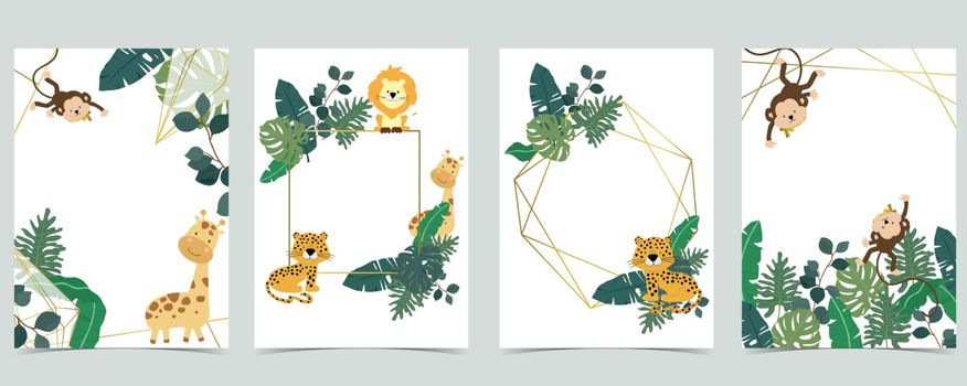 Green collection of safari background set with monkey,leopard,giraffe.Editable vector illustration for birthday invitation,postcard and sticker
