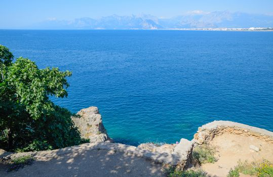 Descent to the beach on the seafront in Antalya