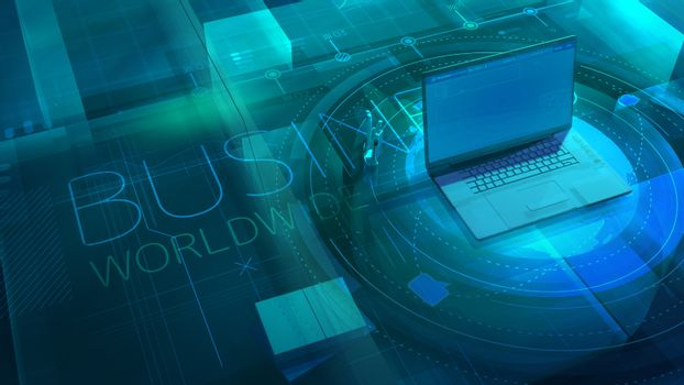 Corporate background with laptop on Business Worldwide topic.