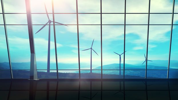 Panoramic window overlooking a landscape with wind farms.