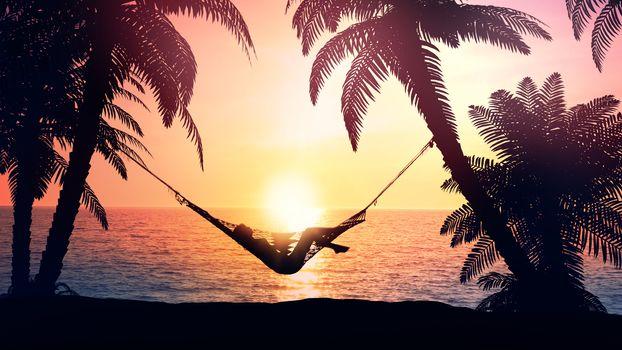 Woman meets dawn resting in a hammock.